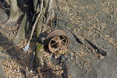 A Rusted Wagon Wheel Royalty Free Stock Photography