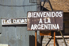 Rusted Welcome To Argentina Sign Written In Spanish Stock Image