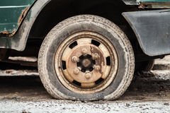 Rusted wheel of old car Royalty Free Stock Images