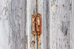 Rusted wooden door painted in white royalty free stock photography