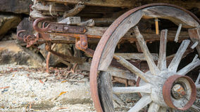 Rusted wooden wagon wheel Royalty Free Stock Images