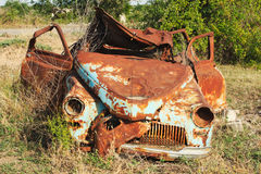 Rusted wrack of a car. As a result of war in Azerbaijan in bombed abandoned city Royalty Free Stock Images