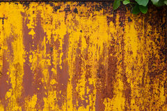 Rusted yellow painted metal. Abstract texture matal background. Stock Photography
