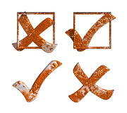 Rust Yes No Tick Cross with box. Isolated rustic tick cross sign and checking box. Check mark Yes No Right Wrong symbol. PNG with transparent background Stock Photos