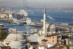 Rustem Pasa mosque with Galata bridge and the Golden Horn background Royalty Free Stock Image