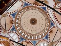 The Rustem Pasha Mosque in Istanbul, Turkey. The luminous and ornate domed interior of the Rustem Pasha Mosque in Istanbul Royalty Free Stock Photography