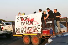 Enough-is-Enough, anti farmer murder campaign Rustenburg, South. Rustenburg, South Africa. 30 October 2017. Countrywide protest through vehicle processions with royalty free stock images