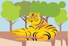 Rustend tijgerbeeldverhaal Stock Foto's