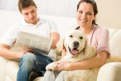 Rustende blije paar zitting en het petting hond Stock Foto's