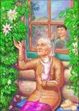 Rustende grootmoeder en kleinzoon royalty-vrije illustratie