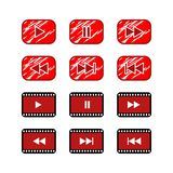Ruster play button video website icon button. royalty free illustration