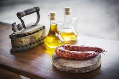 Rusti fumé portugais espagnol traditionnel de courico de chorizo de porc Photos stock