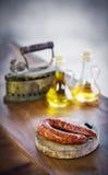 Rusti fumé portugais espagnol traditionnel de courico de chorizo de porc Images stock