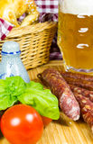 Rustiakle snack with beer Stock Image