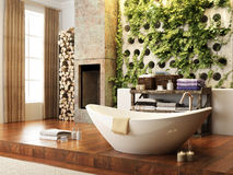 Rustic accents open concept bathroom with wall atrium and fireplace . 3d rendering Stock Images