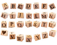 Rustic Alphabet Blocks #1 Stock Photography