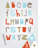 Rustic Alphabet And Punctuation. Elements in pastel colours on a grey background Stock Image