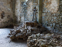 Rustic altar. With cross in the ruins of the Háromhegyi Paulines church and monastery (Hungary Royalty Free Stock Image