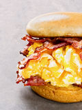 Rustic american bacon egg and cheese sandwich Royalty Free Stock Photos