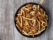 Rustic american chili fries stock photo