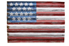 Rustic American Flag. Cutout of a charming rendition of an American flag painted on galvanized siding stock image