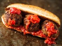 Rustic american italian meatball sandwich. Close up of rustic american italian meatball sandwich royalty free stock image