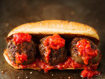 Rustic american italian meatball sandwich. Close up of rustic american italian meatball sandwich royalty free stock photos