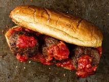 Rustic american italian meatball sandwich. Close up of rustic american italian meatball sandwich Stock Photo