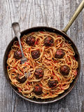 Rustic american italian meatball spaghetti Royalty Free Stock Images