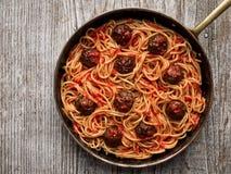 Rustic american italian meatball spaghetti Stock Photography