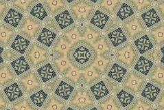 Rustic Artistic Mosaic Pattern. Quilt style fabric in a circular pattern with light brown and blue squares Stock Photography