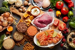 Assorted rustic vegetables meat and seafood Stock Photography