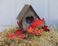 Rustic Autumn Birdhouse Decoration Royalty Free Stock Photo