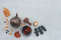 Rustic autumn composition with cozy candlelight Stock Photo