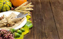 Rustic autumn table setting Stock Photos