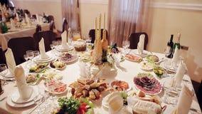 Rustic autumn wedding table stock video footage