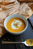 Rustic, autumnal butternut squash soup royalty free stock photos