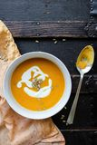 Rustic, autumnal butternut squash soup royalty free stock photography