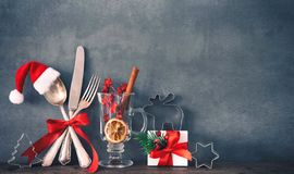 Rustic background for Christmas dinner royalty free stock image