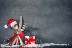 Christmas dinner table place setting background royalty free stock image