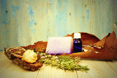 Rustic background herbal essential oils Stock Photography