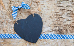 Rustic background with white and blue ribbon Stock Image