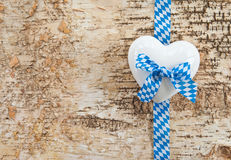 Rustic background with white and blue ribbon Royalty Free Stock Image