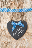 Rustic background with white and blue ribbon Royalty Free Stock Photography