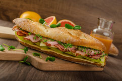 Rustic baguettes with smoked rump Stock Photos