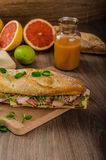Rustic baguettes with smoked rump Stock Photo