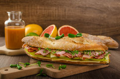 Rustic baguettes with smoked rump Royalty Free Stock Photo