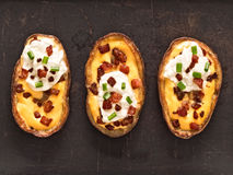 Rustic baked potato skin Stock Photos