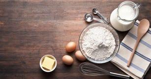 Free Rustic Baking Ingredients Wood Background Royalty Free Stock Image - 61442566