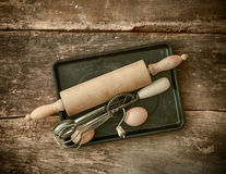Rustic baking utensils Stock Photo